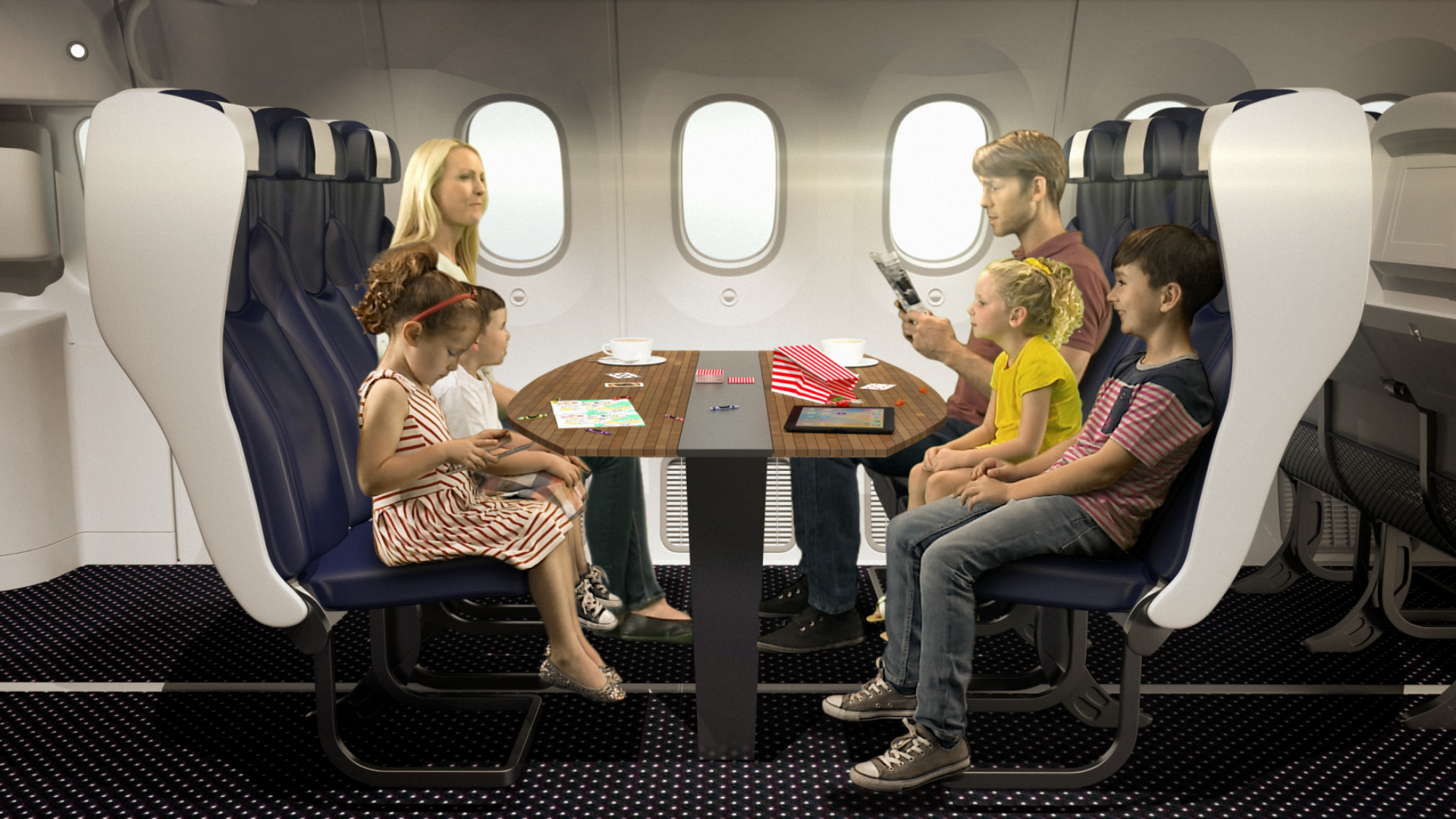 Family booth for flying