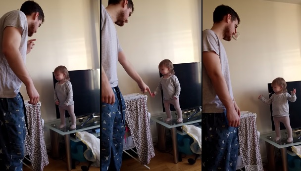 Daddy/Daughter Stand Off