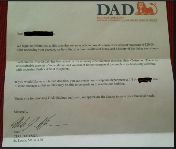 Dad Loan Letter