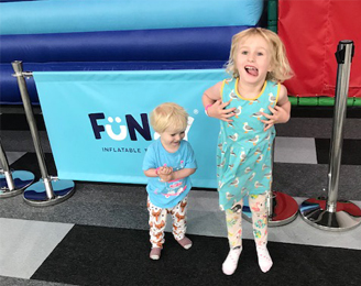Elsa and Seth at Funzy Inflatable Theme Park Bradford.
