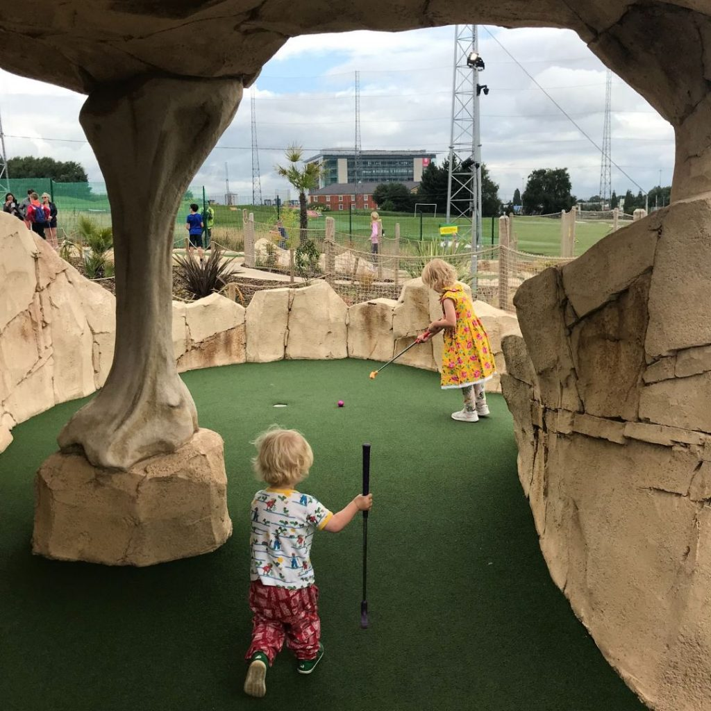 Family Friendly Manchester - Playing at Dino Falls Adventure Golf